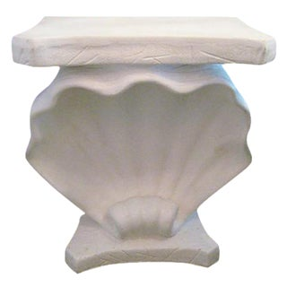 Shell Motif Faux Stone Console