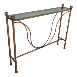 Hollywood Regency Wrought Iron Gilt Decorated Glass Top Console