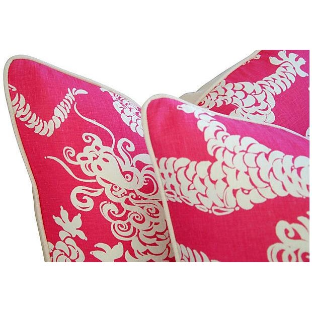 Designer Lee Jofa Lilly Pulitzer Dragon Tail Lights Pink/White Pillows - Pair - Image 4 of 7