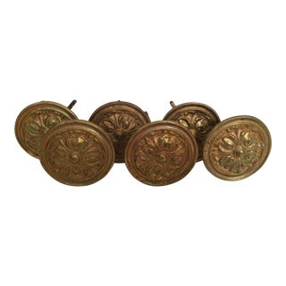 Vintage French Brass Curtain Tiebacks - Set of 6