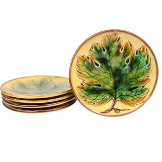 Maple Leaf Majolica Dessert Plates - Set of 5