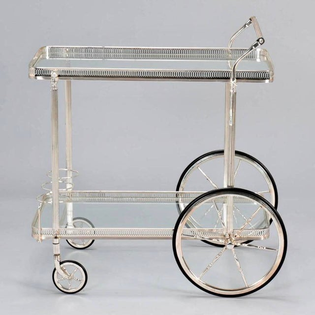 Mid-Century Nickel Plated Bar Cart or Drink Trolley - Image 3 of 8