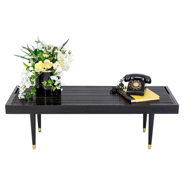 Image of Mid Century Slat Bench Coffee Table