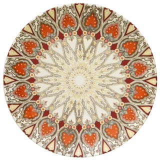 Tan & Orange Paisley Plates - Set of 8