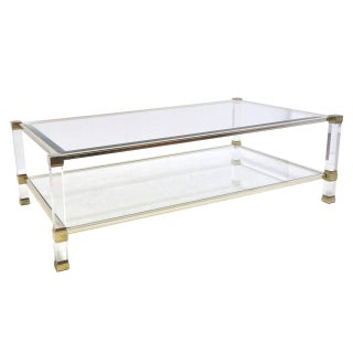 Pierre Vandel Chrome Lucite Glass Coffee Table