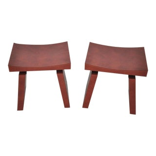 French Red Leather Stools by Dominic Chambon