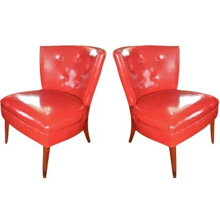 Red Faux Leather Slipper Chairs- A Pair
