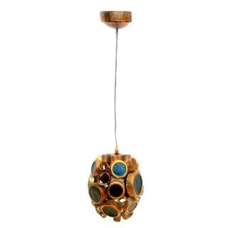 Vintage Brass & Espresso Glass Barnacle Pendant Light