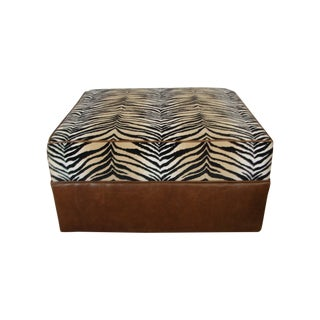 Custom Faux-Zebra and Leather Ottoman