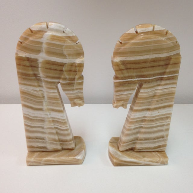 Large Alabaster Horse Bookends - Pair - Image 2 of 4