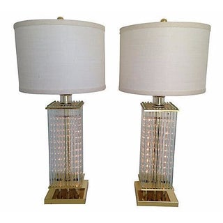 1970s Glass Rod Lamps - A Pair