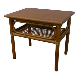 Vintage 60's McGuire Side Table Bamboo Rattan Cane Rawhide Wrapped Teak Top