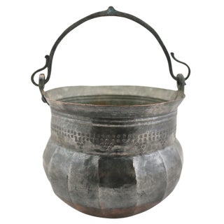 Hand-hammered and Embellished Vintage Tinned Copper Pail | Copper Bucket