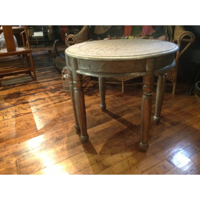 Image of Repousse Nickel Demi-Lune Tables - A Pair