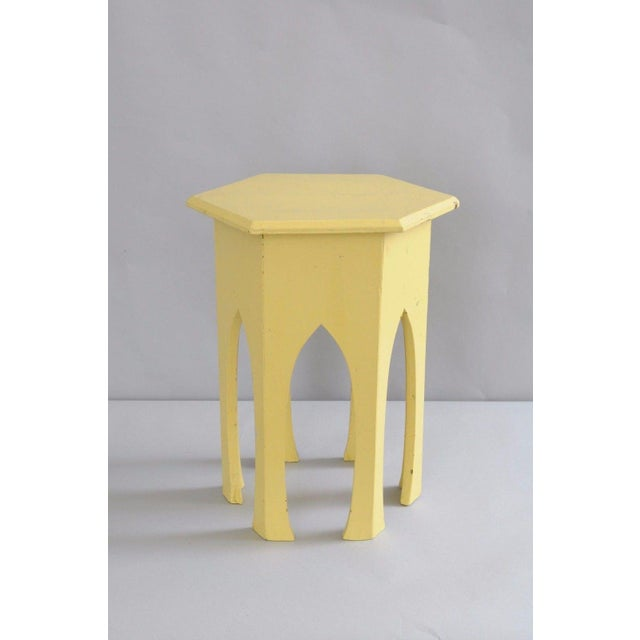 Primitive Rustic Moorish Style Yellow Painted Arched Accent Side Table - Image 7 of 11