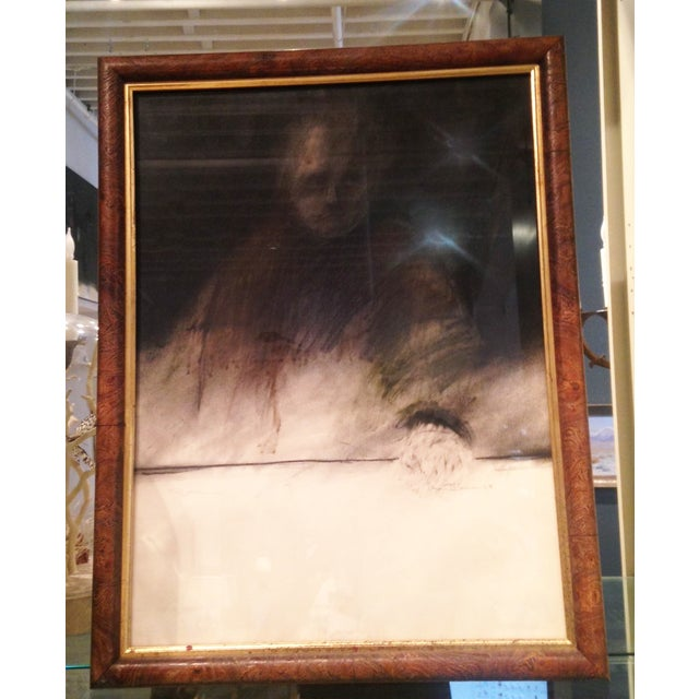 "Image of Framed Charcoal Drawing of Man ""O'Conner"""