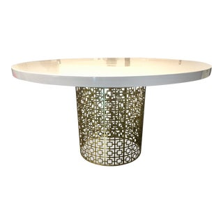 Johnathan Adler Nixon White & Brass Dining Table
