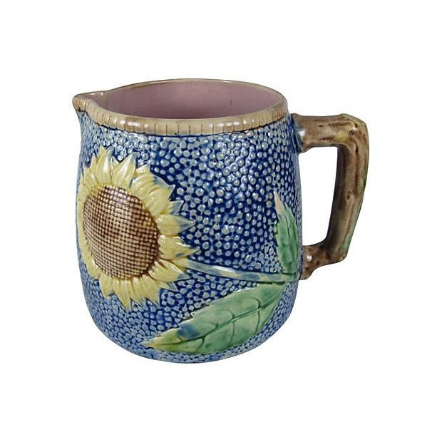 Image of Antique Etruscan Majolica Sunflower Pitcher