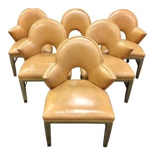 Custom Leather Nailhead Armchairs - Side of 6