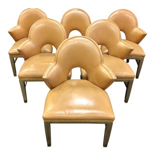 Custom Leather Nailhead Armchairs - Side of 6