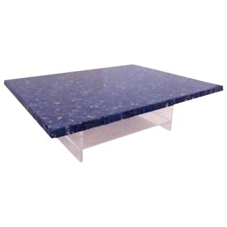 Large Cocktail Table in Lucite and Deep Blue Marble by JJ Hervy Belgium circa 1980