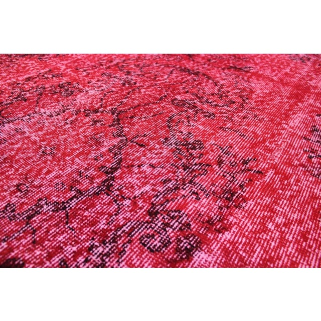 "Vintage Turkish Red Overdyed Rug - 6'2"" X 10'3"" - Image 5 of 8"