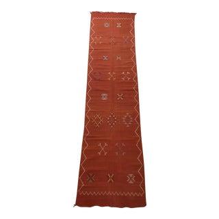Moroccan Cactus Silk Flat Weave Kilim Runner - 2′3″ × 9′