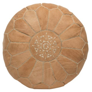 Moroccan Embroidered Natural Leather Pouf
