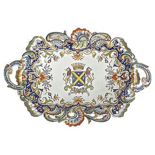 Antique French Heraldic Hand-Painted Platter