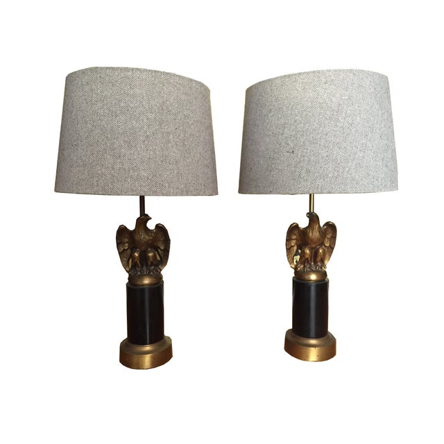 Image of Vintage Federal Style Brass Eagle Lamps - Pair