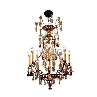 Iron Bagues Chandelier W/ Cut Glass Dangles