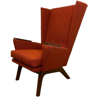 Orange Upholstered Wingback Chair