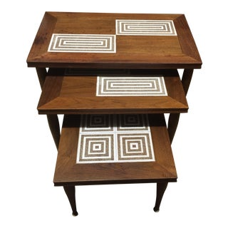 MCM Tile & Walnut Stacking Tables
