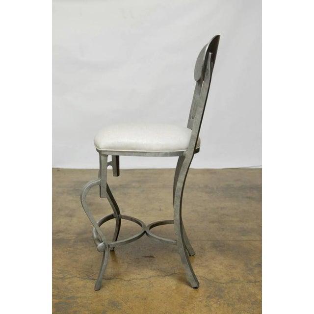 Modern Biedermeier Style Metal Barstools - Set of 3 - Image 7 of 10