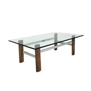 Mid-Century Rosewood & Chrome Base Coffee Table