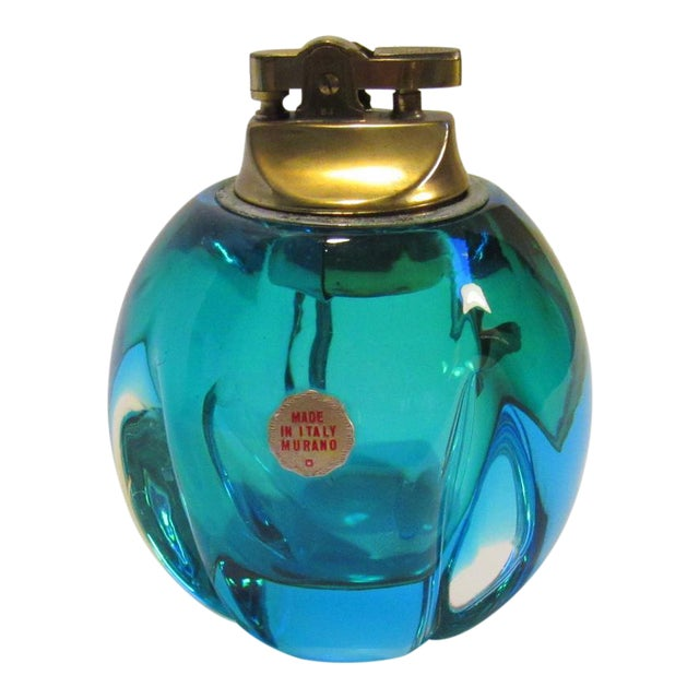 Mid-Century Murano Blue Green Glass Table Lighter - Image 1 of 5