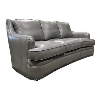 Grey Leather Nailhead Sofa