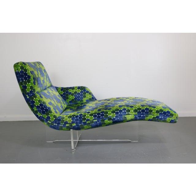 Vladimir Kagan Erica Lucite & Original Fabric Chaise - Image 2 of 8