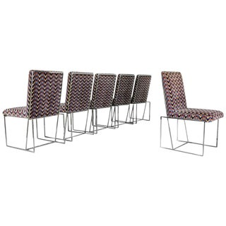 Rare Architectural Chrome Dining Chairs in the Style of Milo Baughman, 1970s