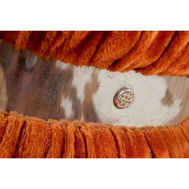 Vintage Fuzzy Orange Mirrored End Tables - Pair - Image 6 of 6