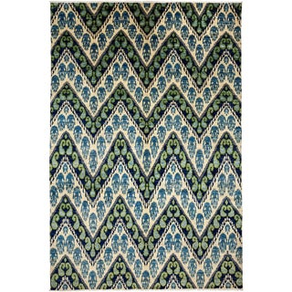"""Ikat, Hand Knotted Area Rug - 7' 10"""" x 11' 10"""""""