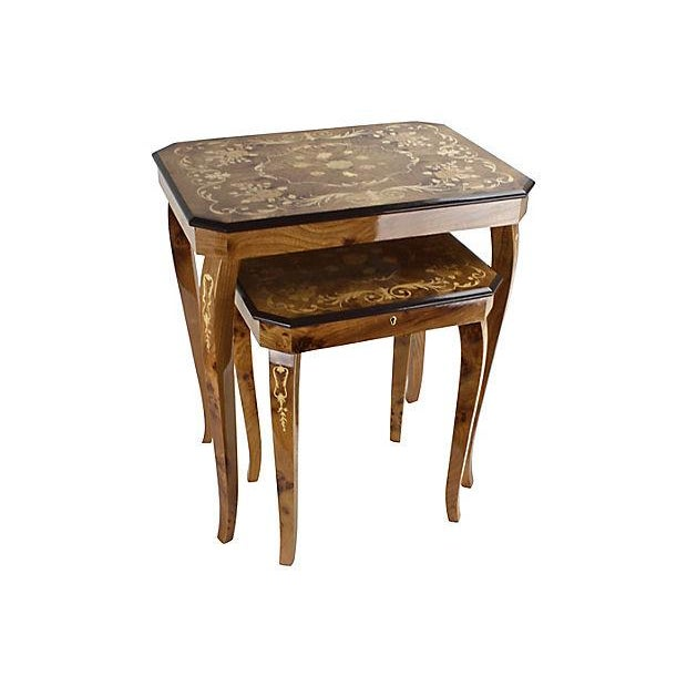 Italian Marquetry Nesting Tables - Set of 2 - Image 2 of 6