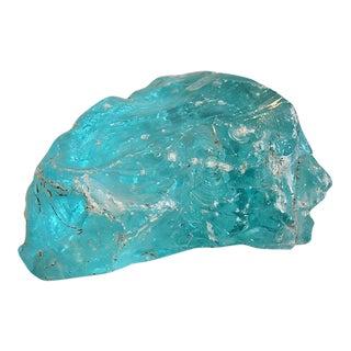 Large Antique Aqua Slag Glass Fragment