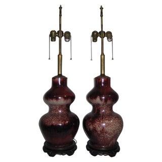 Chinese Sang de Boeuf Porcelain Lamps - A Pair