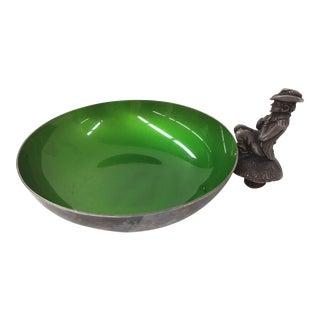 Reed & Barton Silver Plate Green Enamel Trinket Dish