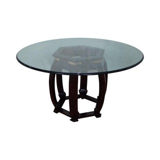 Vintage Glass Top Asian Style Pedestal Dining Table