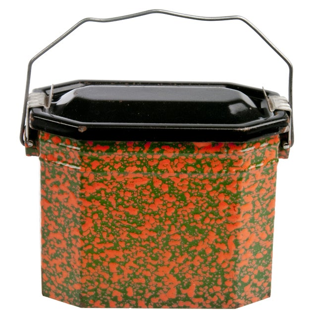 Vintage French Orange & Green Enamel Lunch Pail - Image 1 of 3