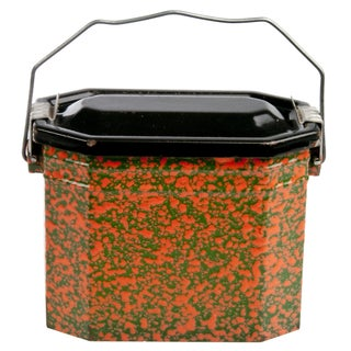 Vintage French Orange & Green Enamel Lunch Pail