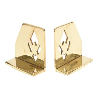 Pair of Heavy Polished Brass Art Deco Cubist Bookends