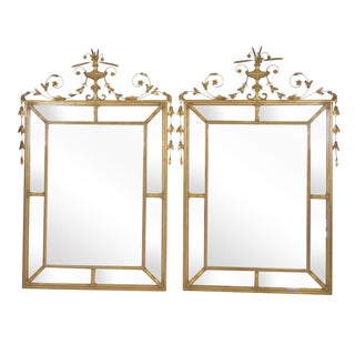 Neoclassical Style Gilt Beveled Mirrors - Pair